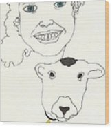 Smiling Child With Lamb Wood Print