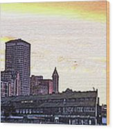 Smith Tower View Wood Print