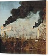 Smoke Billows From The Exxon Oil Wood Print
