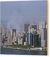Smoke From The Ruins Of The World Trade Wood Print