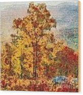 Smoke Tree In The Karst Wood Print