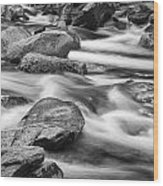 Smokey Mountain Stream Of Flowing Water Over Rocks Wood Print