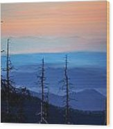 Smokey Mountain Sunset As Seen From Clingman's Dome Wood Print