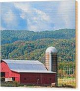 Smokie Mountain Barn Wood Print by Betty LaRue