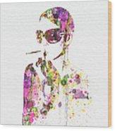 Smoking In The Sun Wood Print by Naxart Studio