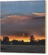Smoky Sunset Wide Angle 08 27 12 Wood Print