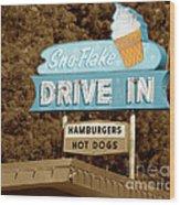 Sno-flake Drive In Lake Tahoe Wood Print