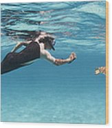 Snorkeler Photographing Green Turtle Wood Print