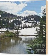 Snow At Tipsoo Lake Wood Print