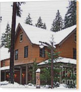 Snow Atop The Inn At Longmire Wood Print