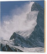 Snow Blows Off Of The Matterhorn Wood Print