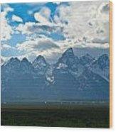 Snow Capped Teton Mountains Wood Print