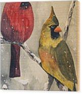 Snow Cardinals Wood Print