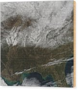 Snow Cover Stretching From Northeastern Wood Print by Stocktrek Images