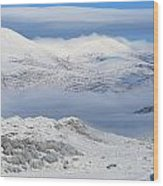 Snow Covered Landscape In Winter Near Wood Print