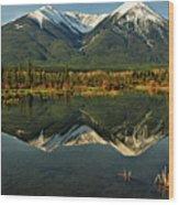 Snow Covered Peaks Of Canadian Rockies Wood Print