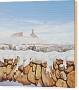 Snow Covered Rock Wall Wood Print