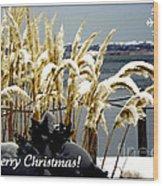 Snow Dust Christmas Card Wood Print