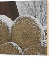 Snow Dusts Rolls Of Hay Wood Print