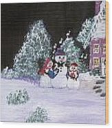 Snow Family Singers Wood Print