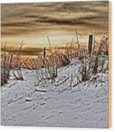 Snow Fence On Horizon Wood Print