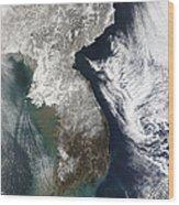 Snow In Korea Wood Print by Stocktrek Images