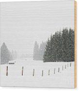 Snow Is Falling In Winter Landscape Wood Print