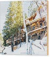 Snow Lodge Wood Print