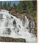 Snow Melt Glen Alpine Falls Wood Print