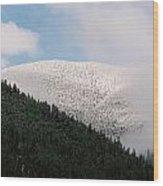 Snow On Black Mountain Wood Print