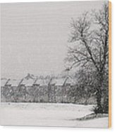 Snow Scape London Sw Wood Print by Lenny Carter
