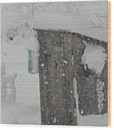 Snow Storm In The Country Wood Print