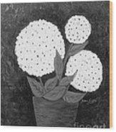 Snowball Plant B W Wood Print