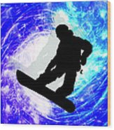 Snowboarder In Whiteout Wood Print