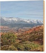Snowcapped Foothills Wood Print