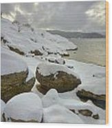 Snowcapped Wood Print