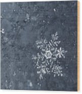 Snowflake In Blue Wood Print