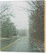 Snowing Morning Wood Print