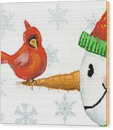 Snowman And The Cardinal Wood Print