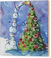 Snowman Christmas Tree Wood Print