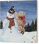 Snowman In Top Hat Wood Print by Gordon Lavender