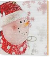 Snowman With Snowflakes  Wood Print