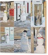 Snowmen Antics. Wood Print by Kelly Nelson