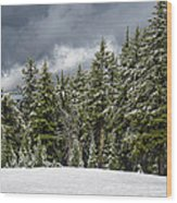 Snowstorm In The Cascades Wood Print