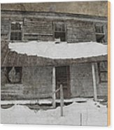 Snowy Abandoned Homestead Porch Wood Print