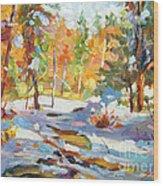 Snowy Autumn - Plein Air Wood Print