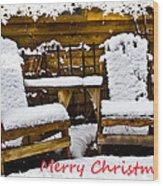 Snowy Coffee Holiday Card Wood Print