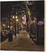 Snowy Downtown Wood Print