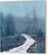 Snowy Foggy Rural Path Wood Print