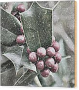 Snowy Holly Christmas Card Wood Print